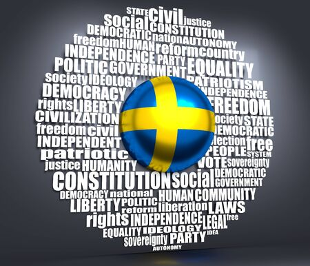 Word cloud with words related to politics, government, parliamentary democracy and political life. Flag of the Sweden. 3D rendering