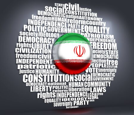 Word cloud with words related to politics, government, parliamentary democracy and political life. Flag of the Iran. 3D rendering Stok Fotoğraf