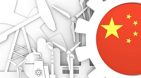 Energy and Power icons set. China flag in gear. Sustainable energy generation and heavy industry. Heavy industry concept. 3D rendering