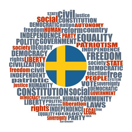 Word cloud with words related to politics, government, parliamentary democracy and political life. Flag of the Sweden