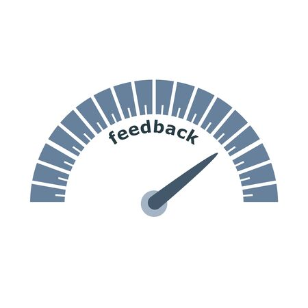 Customer feedback level scale with arrow. The measuring device icon. Sign tachometer, speedometer, indicators. Infographic gauge element Çizim
