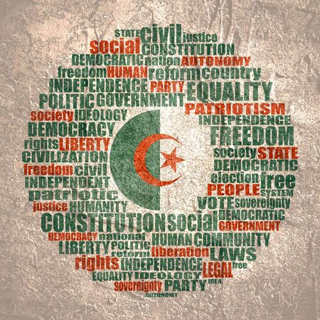 Word cloud with words related to politics, government, parliamentary democracy and political life. Flag of the Algeria.