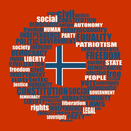 Word cloud with words related to politics, government, parliamentary democracy and political life. Flag of the Norway
