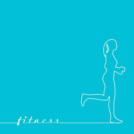 Running woman. Side view silhouette. Sport and recreation concept Çizim