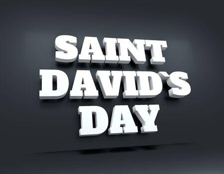 St Davids Day greeting card design. 3D rendering. Stok Fotoğraf