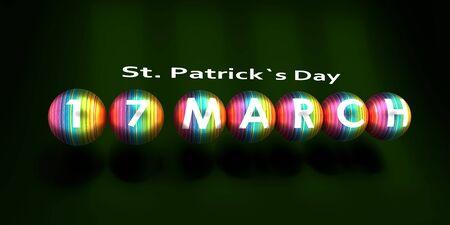 St. Patricks Day greeting card template. Calendar date. 3D rendering.