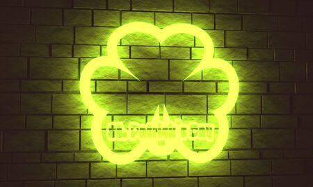 St. Patricks Day greeting card template. Shamrock backdrop. 3D rendering. Neon bulb street sign illumination