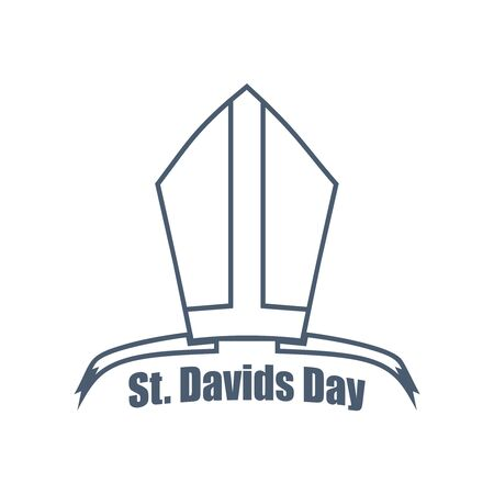 St Davids Day greeting card design element. Bishop hat with text. Wales national holiday. Catholic hat tiara.