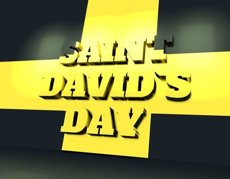 St Davids Day greeting card design. 3D rendering. Yellow cross on black background