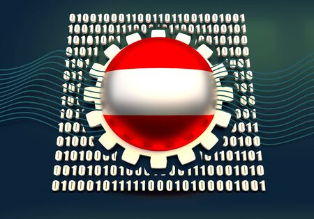 Binary code background with gear and flag of the Austria. Algorithm binary, data code, decryption and encoding. 3D rendering