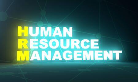 Illustration of business acronym term HRM - Human Resource Management. 3D rendering. Neon bulb illumination