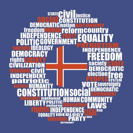 Word cloud with words related to politics, government, parliamentary democracy and political life. Flag of the Iceland Vettoriali