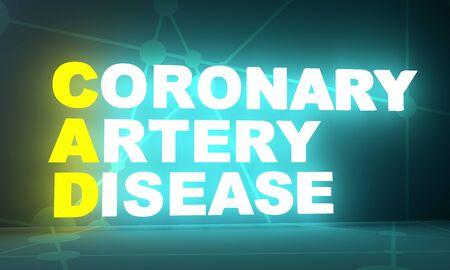 CAD - Coronary artery disease medical concept acronym. 3D rendering. Neon bulb illumination 스톡 콘텐츠