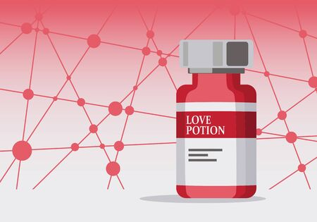 A regular chemistry glass bottle filled with a red liquid called love potion. Lines with dots connected background