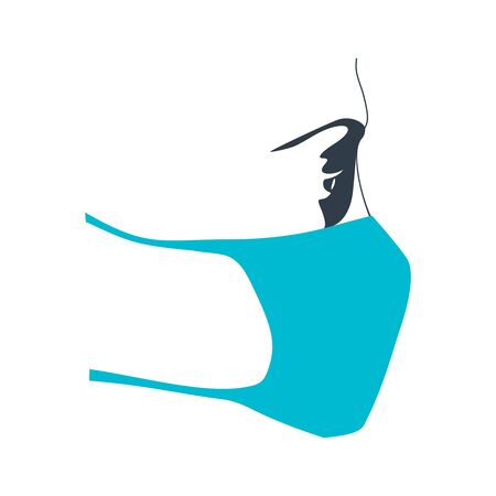 Abstract icon of woman wearing a medical mask