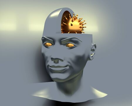 Open minded woman with golden virus model as brains. 3D rendering