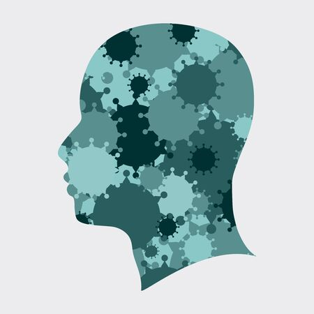 Silhouette of a human head. Health relative brochure, report or leaflet design template. Scientific medical designs. Virus outbreak concept. Group of viruses on backdrop. Double exposure effect
