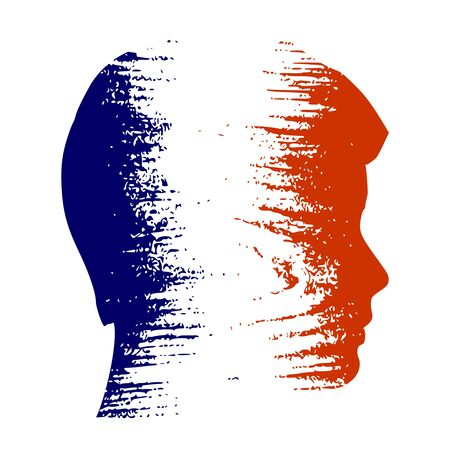 Double exposure portrait of young man. France flag design concept. Flag textured by grungy wood pattern. Image relative to travel and politic themes