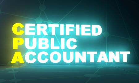 CPA - Certified Public Accountant acronym. Business concept background. 3D rendering. Neon bulb illumination 스톡 콘텐츠 - 142663407