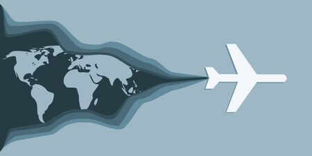 Air plane travelling concept illustration. Paper cut style. World map Illustration