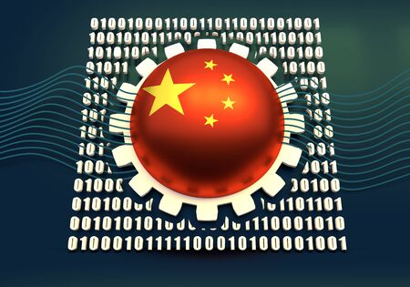 Binary code background with gear and flag of the China. Algorithm binary, data code, decryption and encoding. 3D rendering