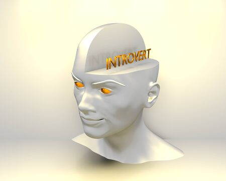 Introvert word. Psychology concept. Open minded woman. 3D rendering