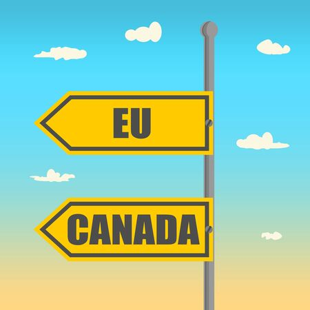 CETA - Comprehensive Economic and Trade Agreement. Europe and Canada association. Trade union. Brochure or circle frame design. European Union and Canada text on road sign Illustration