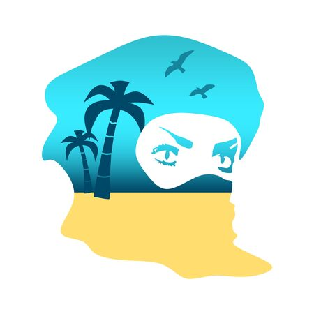 Face profile view. Elegant silhouette of a muslim woman with hijab. Double exposure portrait of young woman and seashore with palms and birds
