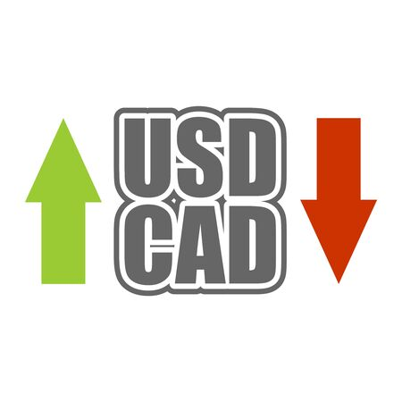 Financial market trading concept. Currency pair. Acronym CAD - Canadian Dollar currency. Acronym USD - United States Dollar.