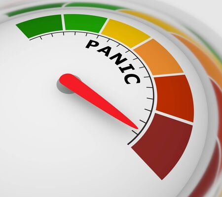 Panic level conceptual meter indicating maximum.Color scale with arrow from green to red. Sign tachometer, speedometer, indicators. Colorful infographic gauge element. 3D rendering 免版税图像