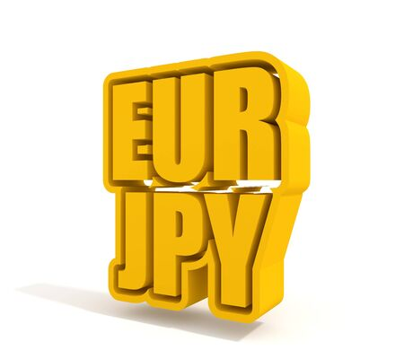 Financial market concept. Currency pair. Acronym EUR - European Union currency. Acronym JPY - Japanese Yen. 3D rendering