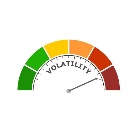 Level scale with arrow. The volatility measuring device icon. Sign tachometer, speedometer, indicator. Infographic gauge element. Illustration