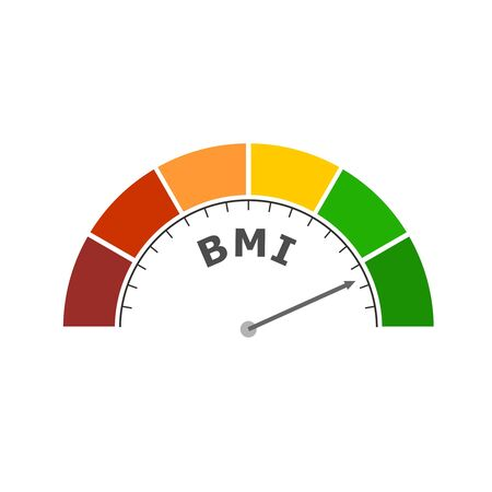 Body mass index meter read level result. Color scale with arrow from red to green. The measuring device icon. Colorful infographic gauge element. Иллюстрация