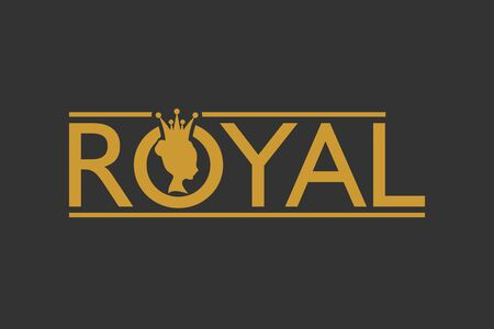 Royal club luxury emblem. Royal word. Princess head silhouette with crown. Medieval queen profile. Business fantasy badge.