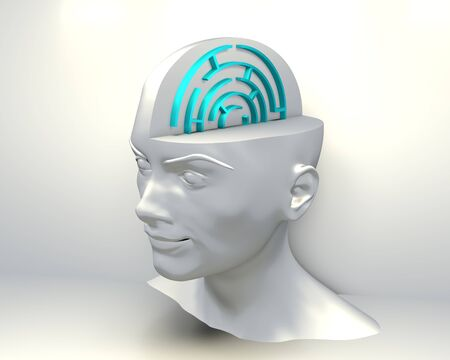 Psychic Mind. Labyrinth inside of the head. Concept of confusing, lost, find way, etc. 3D rendering