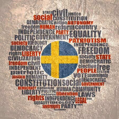 Word cloud with words related to politics, government, parliamentary democracy and political life. Flag of the Sweden. Stockfoto