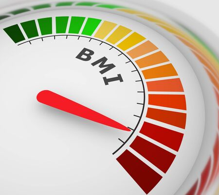 Body mass index meter read high level result. Color scale with arrow from green to red. The measuring device icon. Colorful infographic gauge element. 3D rendering