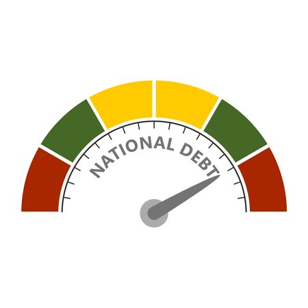 Abstract meter read high level of national debt result. Color scale with arrow. The measuring device icon. Colorful infographic gauge element. National flag of Lithuania