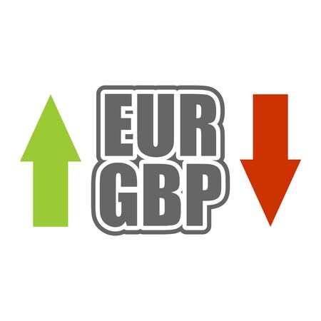 Financial market trading concept. Currency pair. Acronym GBP - Great Britain Pound currency. Acronym EUR - European Union currency.
