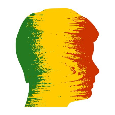 Double exposure portrait of young man. Mali flag design concept. Flag textured by grungy wood pattern. Image relative to travel and politic themes
