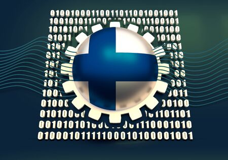Binary code background with gear and flag of the Finland. Algorithm binary, data code, decryption and encoding. 3D rendering