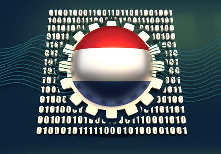 Binary code background with gear and flag of the Netherlands. Algorithm binary, data code, decryption and encoding. 3D rendering