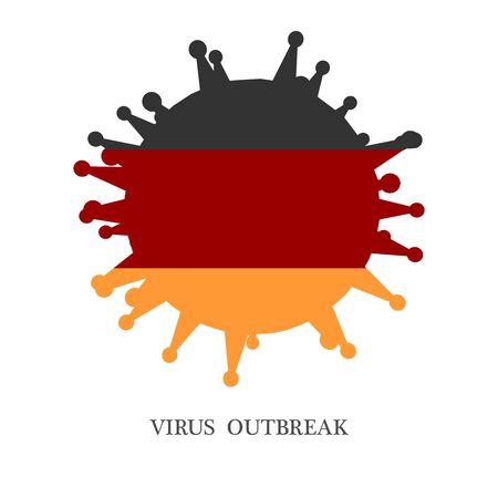 Abstract virus silhouette. Coronavirus virus danger relative illustration. Medical research theme. Virus epidemic alert. Flag of the Germany  イラスト・ベクター素材