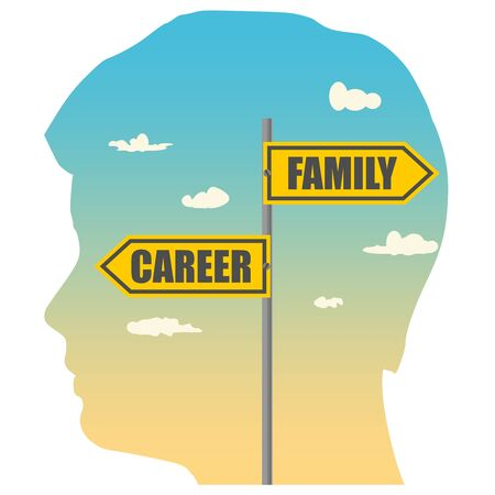 Double exposure portrait of young man and road signs with CAREER and FAMILY text pointing in opposite directions
