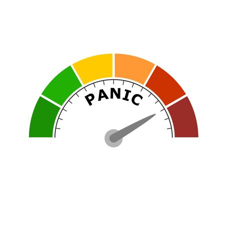 Panic level conceptual meter indicating maximum.Color scale with arrow from green to red. Sign tachometer, speedometer, indicators. Colorful infographic gauge element. Stock Illustratie