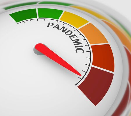 Color scale with arrow from red to green. The pandemic level measuring device icon. Sign tachometer, speedometer, indicators. Colorful infographic gauge element. 3D rendering Stock Photo