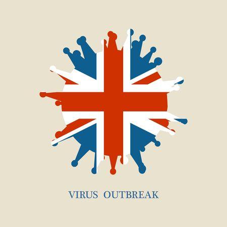 Abstract virus silhouette. Coronavirus virus danger relative illustration. Medical research theme. Virus epidemic alert. Flag of the UK