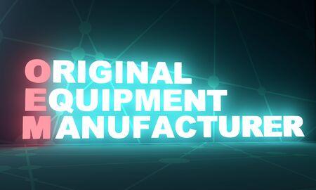 OEM - Original Equipment Manufacturer acronym, business concept background. 3D rendering. Neon bulb illumination