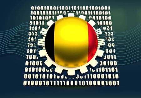 Binary code background with gear and flag of the Belgium. Algorithm binary, data code, decryption and encoding. 3D rendering