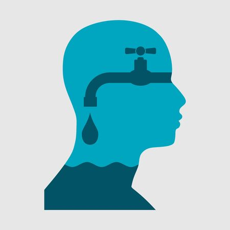 Head of man fillet by water from faucet. Psychology and politic concept